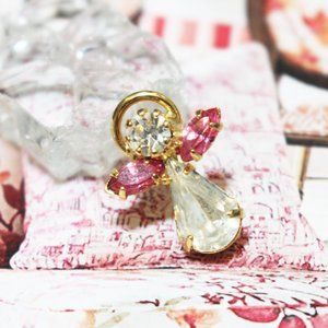Jewelry - Pink Rhinestone Angel Brooch Pin Pendant